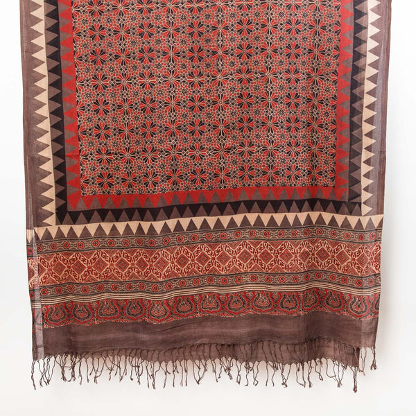Ajrakh Alhambra Shawl - Madder, Slate, Natural, Black
