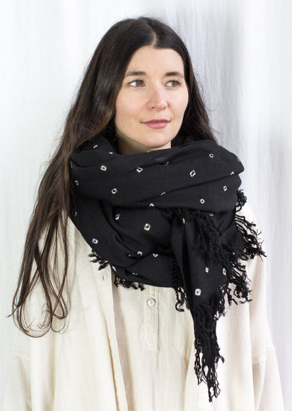 Wool Bandhani Shawl - Black