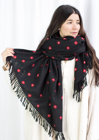 Wool Bandhani Shawl - Black Double Dot