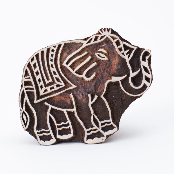 Wood Block - Elephant with raised trunk