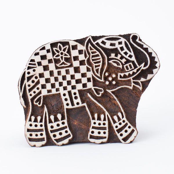 Wood Block - Elephant Ornate