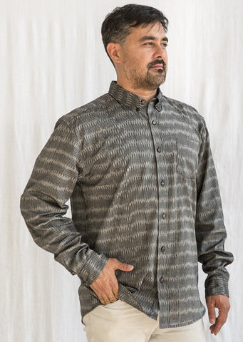 Men's Deccan Shirt - Ikat - Grey Broken Lines