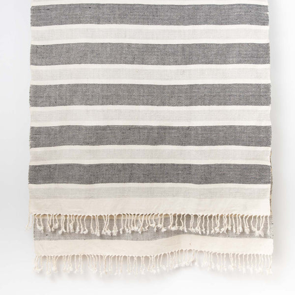 Wide Stripe Cotton Linen shawl - Natural Grey Black