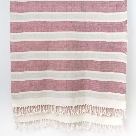 Wide Stripe Cotton Linen shawl - Natural Grey Red