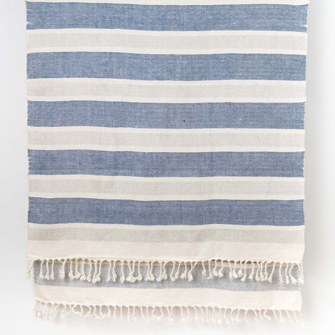 Wide Stripe Cotton Linen shawl - Natural Grey Blue