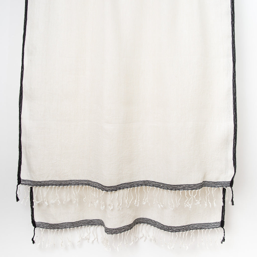 Linen Shawl with Black Selvedge