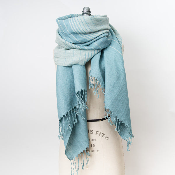 Linen Cotton Shawl - Weft Stripe - Aqua