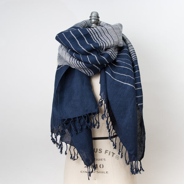Linen Cotton Shawl - Weft Stripe - Navy