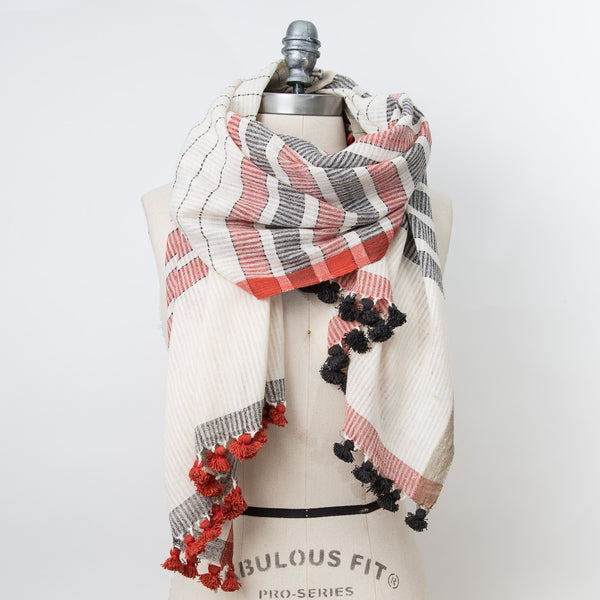 WomenWeave Cotton Shawl - Ivory/Black/Red Pom Pom