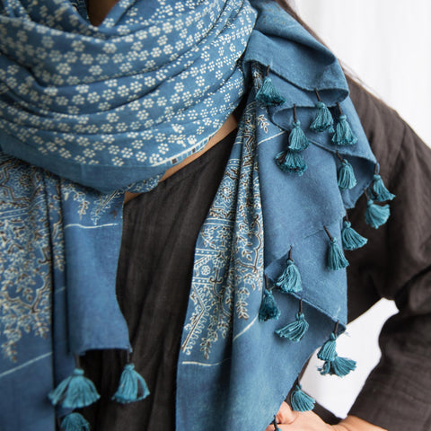 Ajrakh - Organic Cotton Scarf with Tassel- Indigo