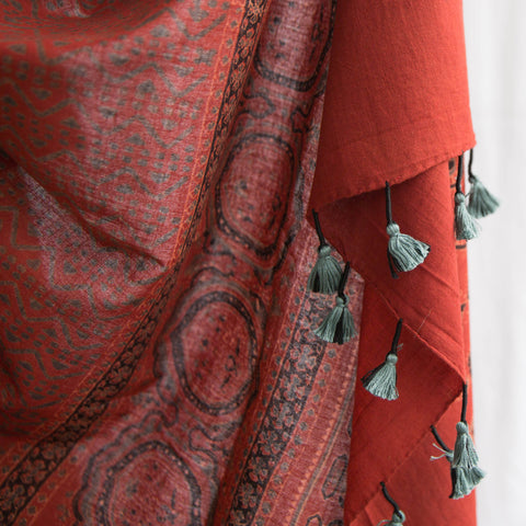 Ajrakh - Organic Cotton Scarf with Tassel - Madder Red