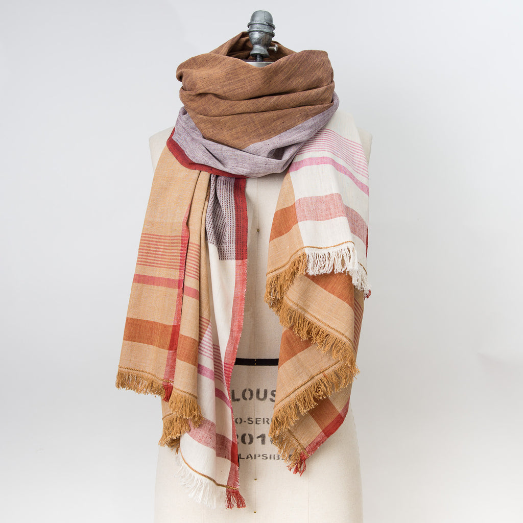 Women Weave Cotton Shawl - Cutch/Natural