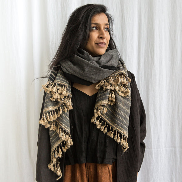 Bhujodi - Wool and Wild Silk Shawl - Nomad Charcoal