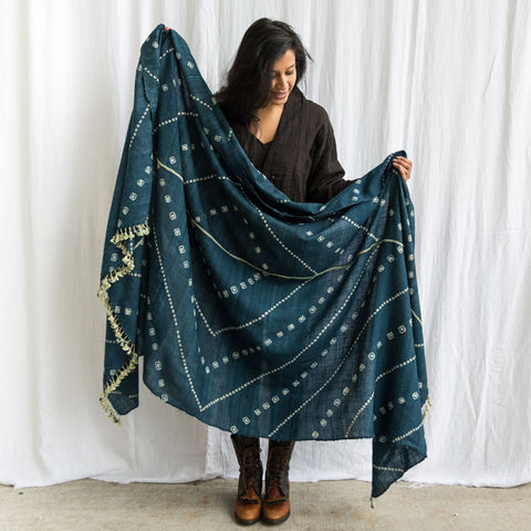 Bhujodi - Silk & Wool Shawl or Blanket - Blue Bandhani