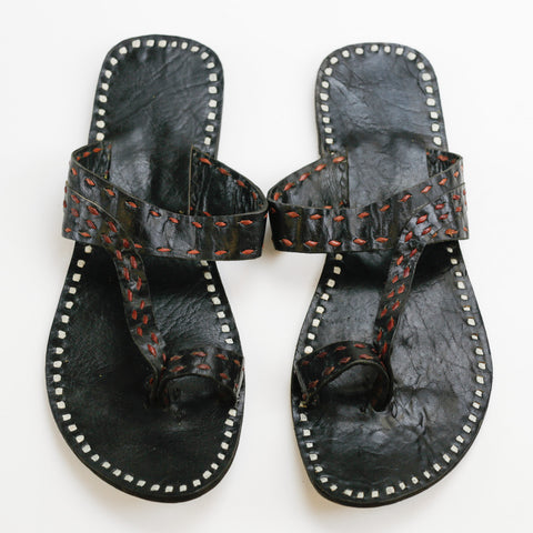 Pushkar Leather Sandal - Black