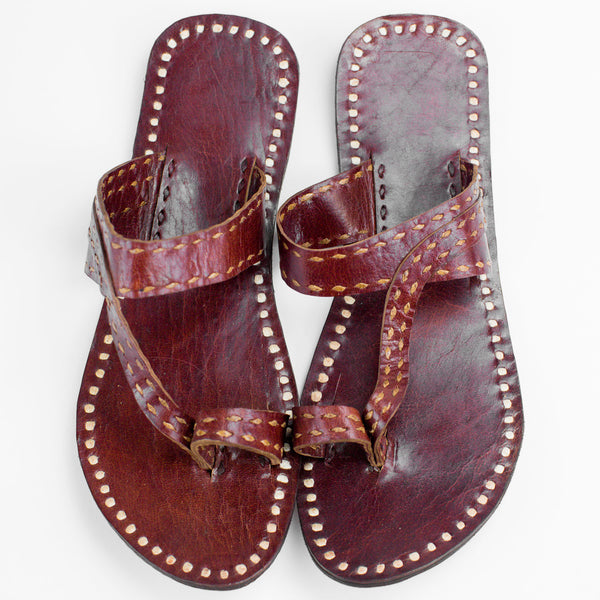 Pushkar Leather Sandal - Red - White Stitching
