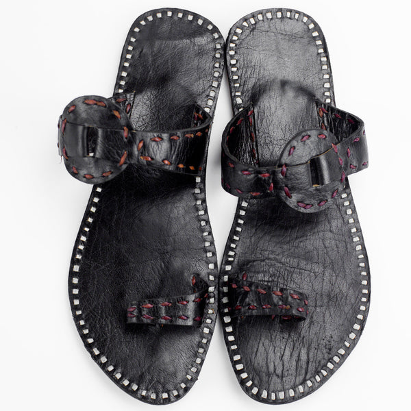 Ajmer Leather Sandal - Black