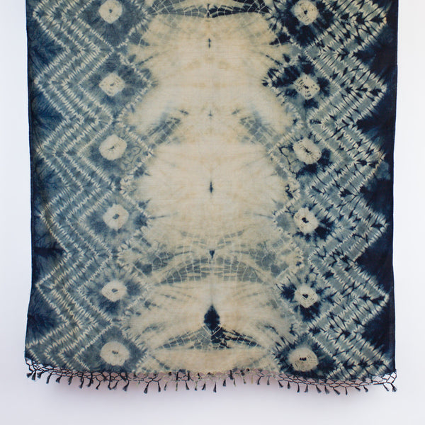 Shibori Silk/Cotton Shawl - Zig Zag Mokume
