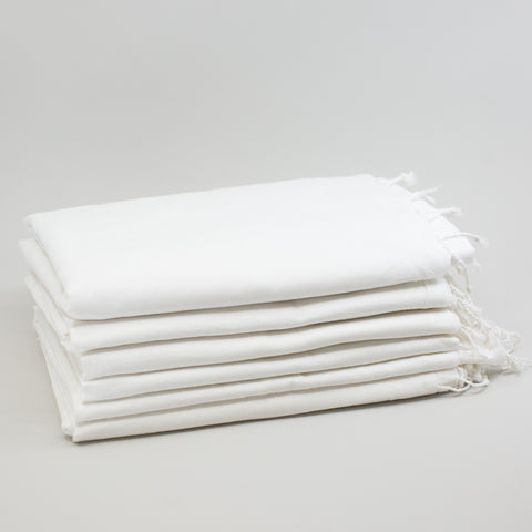 1/2 Dozen - Cotton Khadi Handwoven Stoles - Bright White