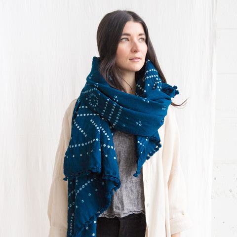Wool Bandhani Shawl - Blue Geometric