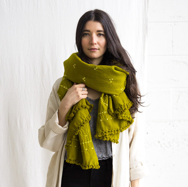 Wool Bandhani Shawl - Green Gold