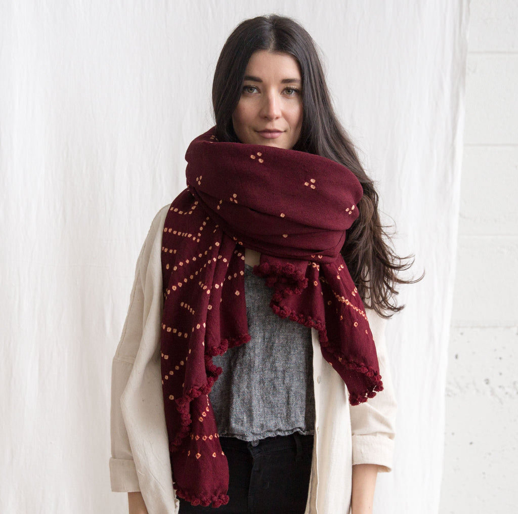 Wool Bandhani Shawl - Burgundy Geometric
