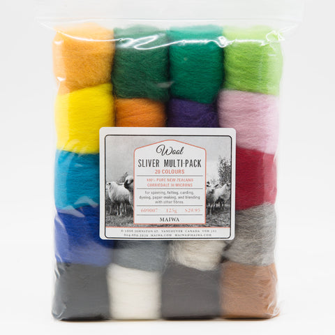 Wool Corriedale Roving - 20 Colour Multi-Pack
