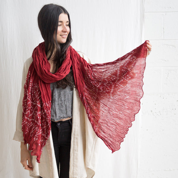 Organic Crinkle Cotton scarf - Poppy Red Bandhani