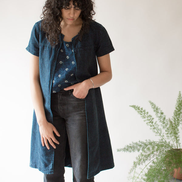 Tulsi Jacket - Naturally Dyed Linen - Indigo & Iron