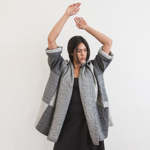 Ikat Kimono Coat - Heather Grey Dash - Cotton