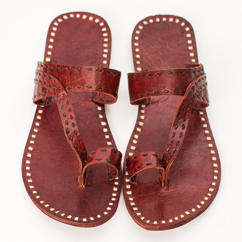 Pushkar Leather Sandal - Red - Black Stitching