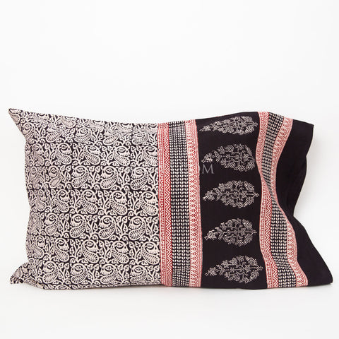 Organic Cotton Pillow Case - Bagh Print - Stylized Paisley