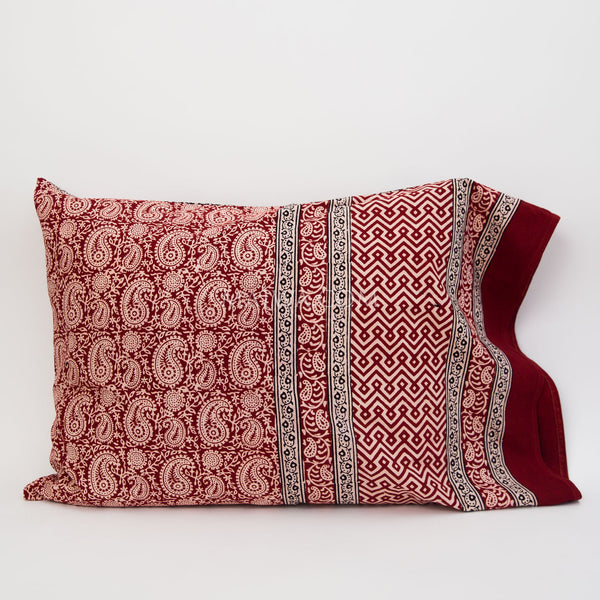 Organic Cotton Pillow Case - Red Paisley