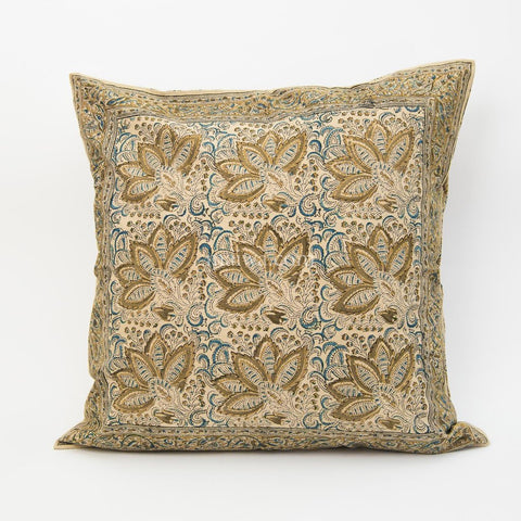 Organic Cotton Cushion Cover - Kalamkari - Indigo Ochre Bloom