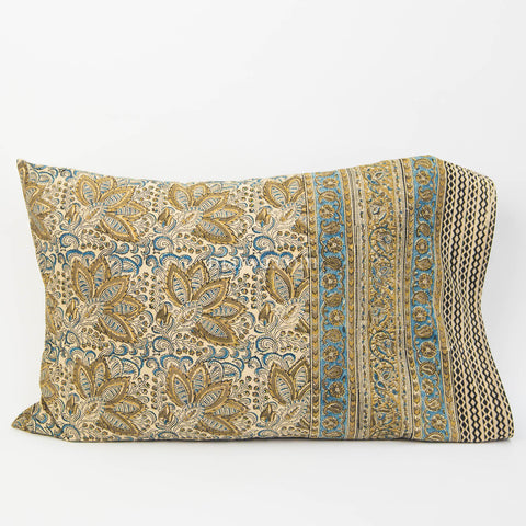 Organic Cotton Pillow Case - Indigo Ochre Bloom