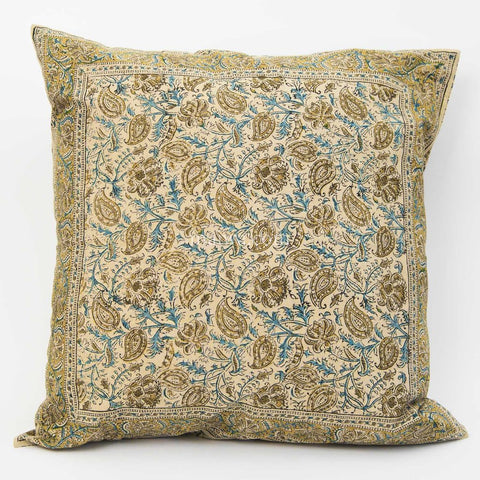 Organic Cotton Cushion Cover - Kalamkari - Indigo Ochre Leaf