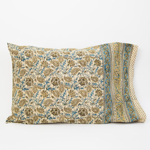 Organic Cotton Pillow Case - Indigo Ochre Leaf