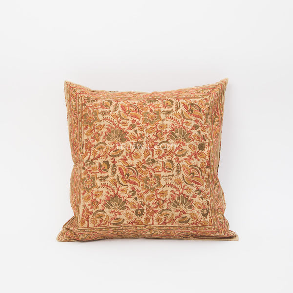 Organic Cotton Cushion Cover - Kalamkari - Desert Flower