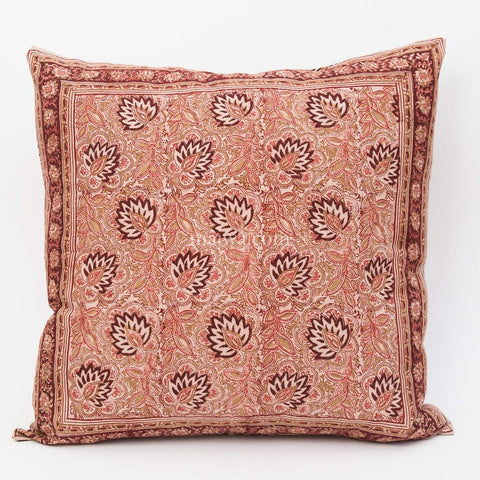 Organic Cotton Cushion Cover - Kalamkari - Burgundy Lotus