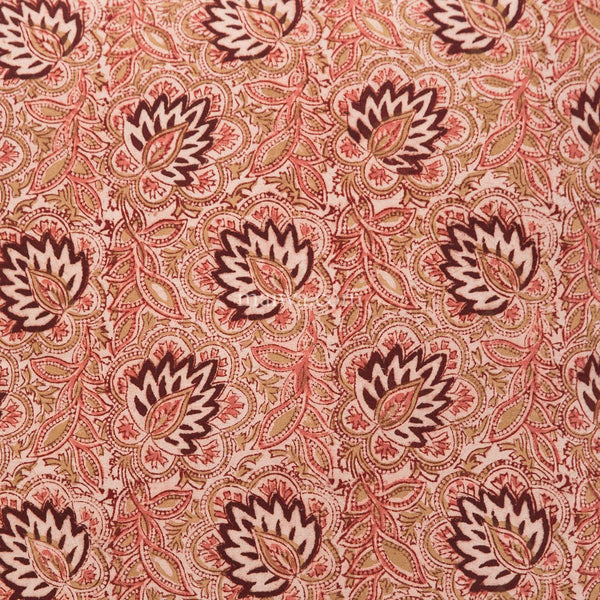 Organic Cotton Tablecloth - Kalamkari - Burgundy Lotus