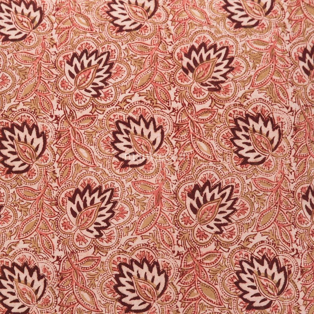 Organic Cotton Queen Sheet - Kalamkari - Burgundy Lotus