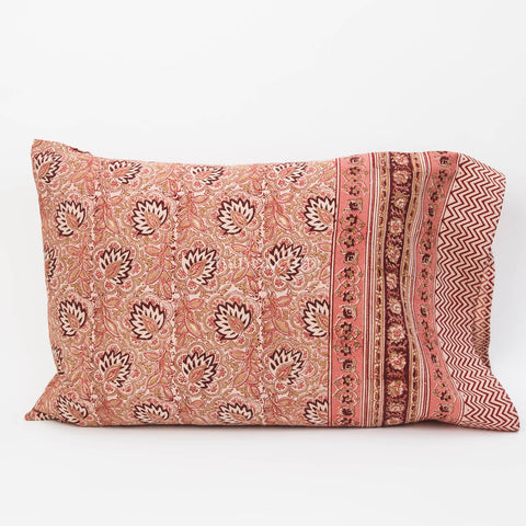 Organic Cotton Pillow Case - Burgundy Lotus