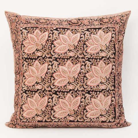 Organic Cotton Cushion Cover - Kalamkari - Rose & Black Bloom