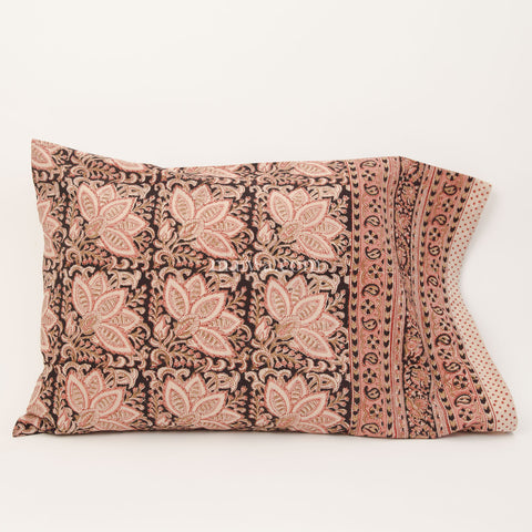 Organic Cotton Pillow Case - Rose & Black Bloom