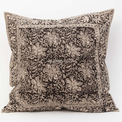 Organic Cotton Cushion Cover - Kalamkari - Midnight Blossom