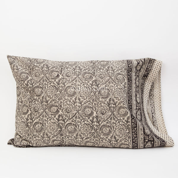 Organic Cotton Pillow Case - Kalamkari - Smokey Vine