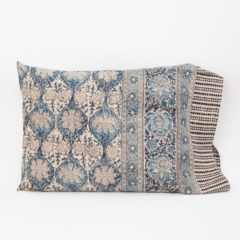 Organic Cotton Pillow Case - Indigo Palm