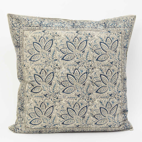 Organic Cotton Cushion Cover - Kalamkari - Indigo Bloom