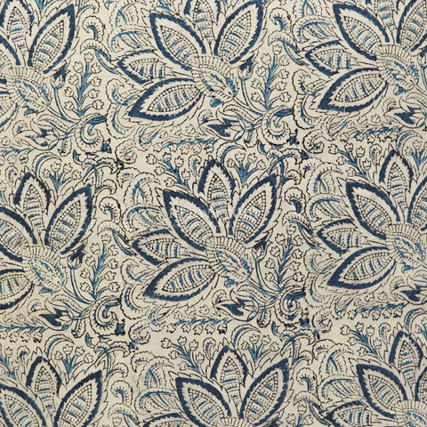 Organic Cotton Tablecloth - Kalamkari - Indigo Bloom