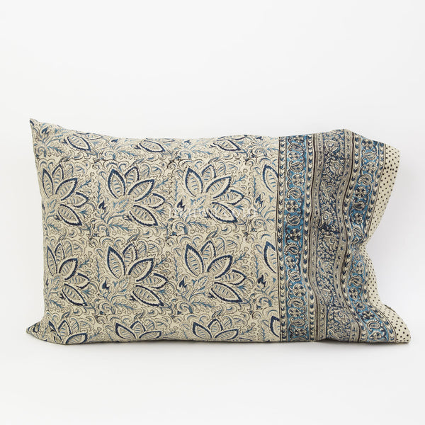 Organic Cotton Pillow Case - Indigo Bloom